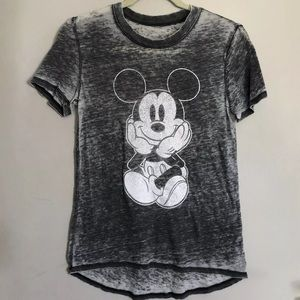 Disney Mickey Mouse Burnout T-Shirt Small Gray